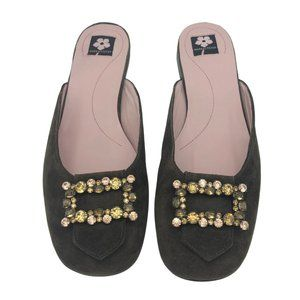 Mark and Steven Brown Flat Mules Jeweled in Box
